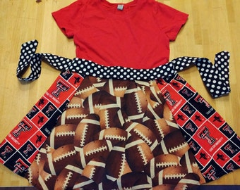 Texas tech dress, football dress, baby, toddler, girls, red raiders, Texas Aggies, a &m, ut, longhorns sash upcycled, shirt,
