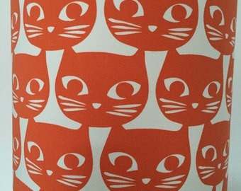 Orange Cat Head on White Background Lampshade