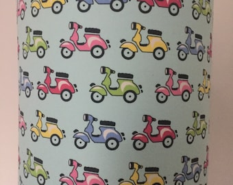 Colourful scooter print lampshade. light blue fabric