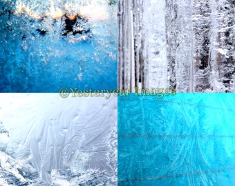 FROSTED WINDOWS Photos - Digital Images Collage Sheets - 3 PNG Files 4x4 - 2x2 - 1x1