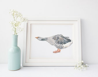 Wall art, home wall art, digital prints, Goose print, bird print G124DL, gray wall art, gray nursery print, bird print instant download