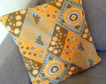 Retro 70s pillow cushion cover - orange brown grey geometric fabric - VW campervan caravan
