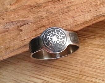 Black sun ring. Ring with occult symbol. Viking ring