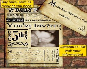 Harry Potter Daily Prophet Baby Shower Invitation