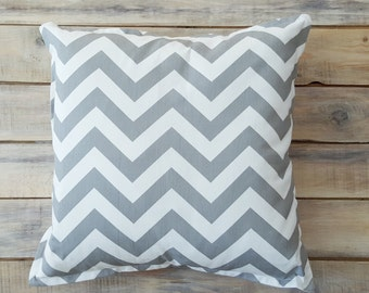 READY TO SHIP! Grey Zigzag Pillow with Cotton Cover 40x40 cm
