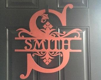 Momogram personalized wood door or wall sign