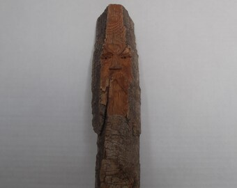 Hand Carved Cottonwood Wood Spirit. House Warming Anniversary Gift. Cottonwood Bark