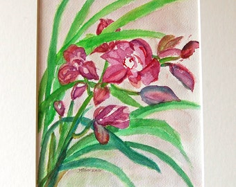 Look At Me original watercolor painting by Miao Yeh, 24x18, floral, portion of proceed supports Parkinson's research.