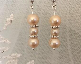 Drop Earrings-Cream Color Faux Pearl-Beaded