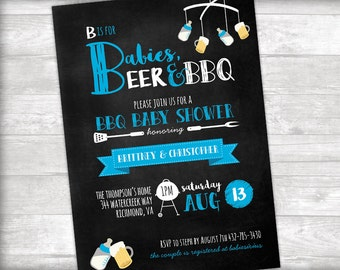 Babies, Beer, & BBQ Couples Baby Shower Invitation Printable