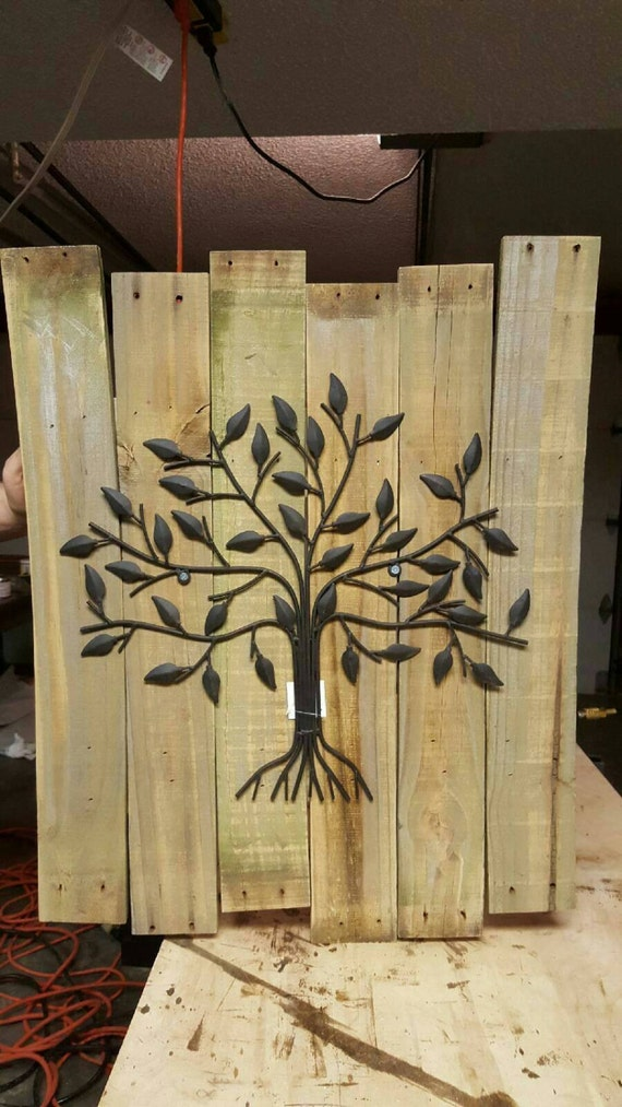 metal tree wall decor with rustic wood by nicksreclaimedecor. Black Bedroom Furniture Sets. Home Design Ideas
