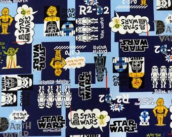 rare to find! 1/2 Yard Disney Star Wars Comic Print Cotton Fabric