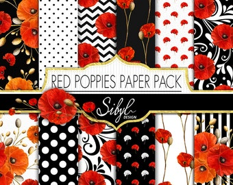60% OFF SALE, Red Poppies Digital Paper Pack, Poppy Flower Digital Paper, Red Floral Collage Sheet, Poppy Digital Scrapbooking, Decoupage