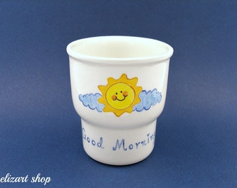 Egg holder, egg cup, ceramic egg cup, pottery egg cup, hand painted egg cup, breakfast gift, child's breakfast, kids breakfast, serving kids