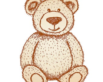 Printable Wall Art, Brown Teddy Bear, Nursery Prints, Size 8x10