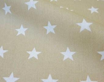 cotton fabric stars beige white 2,2cm France