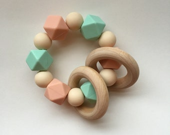 Mint, Peachy and Navajo Silicone Teething Ring with Wooden Ring
