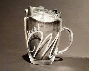 Etched Glass Mug - Tea coffee, Personalised with name or monogram