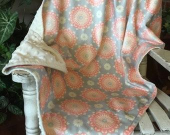 Girl's Soft N Comfy Baby Blanket/  Soft N Comfy Fleece with Medallions / Newborn Blanket / Girls Baby Blanket / Baby Gift
