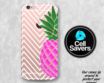 Pineapple Clear iPhone 7 Plus iPhone 6s iPhone 6 iPhone 6 Plus iPhone 6s + iPhone 5c iPhone 5 Clear Case iPhone SE Chevron Pattern Pink Cute