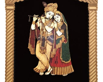 Radha Krishna 3D Wooden Crafted