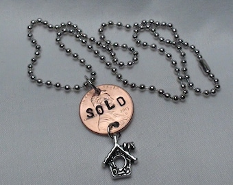 """Lucky Penny Necklace stamped """"SOLD"""" with HOUSE charm, lucky penny, good luck charm, real estate gifts, necklace, jewelry with coins, Realtor"""