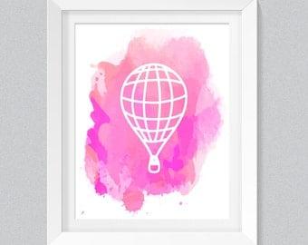 Hot Air Balloon Art Print Nursery Wall Decor Printable Pink White Hot Air Balloon Watercolor Home Decor Printable Wall Art Download