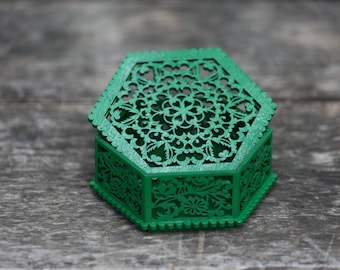 Wooden(plywood) hexagon box with flowers (green color). Free shipping.