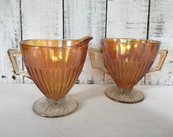 Round Robin Iridescent Creamer & Sugar / Marigold Carnival Glass / Economy Glass Co. 1930's Set