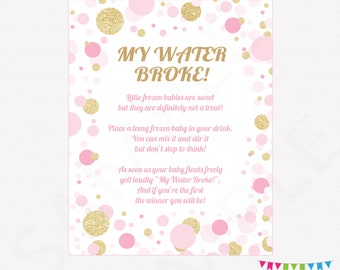 Pink And Gold Baby Shower Games, My Water Broke Baby Shower Game, Girl Baby