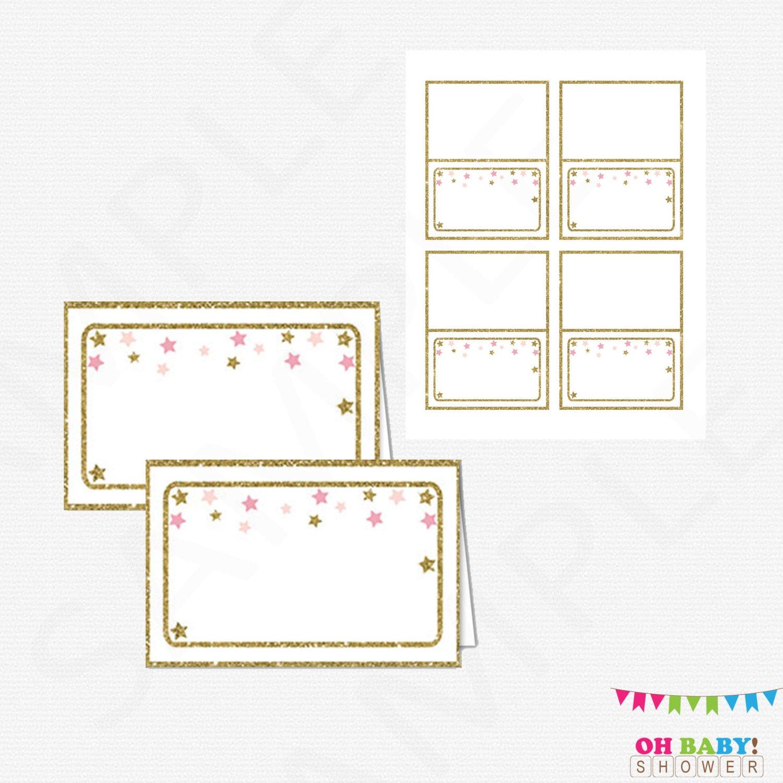 Food Labels Twinkle Twinkle Little Star Baby Shower Pink