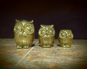 Brass Owl Figurines