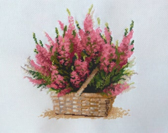 Pink flowers in a basket, Flowers wall decor, Gift for women's, Cross Stitch Picture, Pink Flower Decor