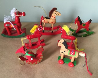 Set of 6 Vintage Red Wooden Christmas Tree Rocking Horse Ornaments