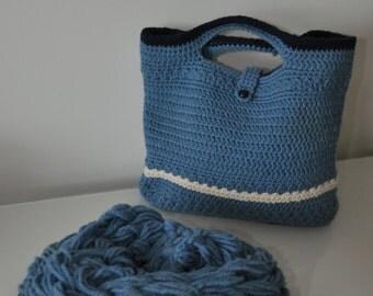 Wool neckwarmer and matching crochet bag