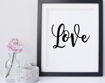 Love Script Home Decor Printable Wall Art INSTANT DOWNLOAD DIY - Great Gift