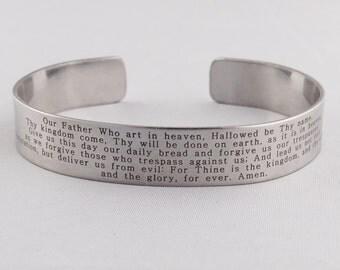 Lord's Prayer Cuff Bracelet - Stainless Steel Cuff - Scripture Lord's Prayer Writing Matthew 6:9