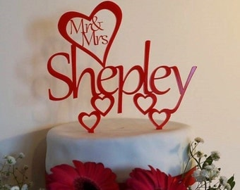 Personalised wedding cake topper, acrylic wedding cake topper, bride and groom