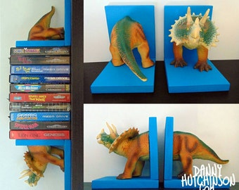 Blue Dinosaur Bookends - Triceratops