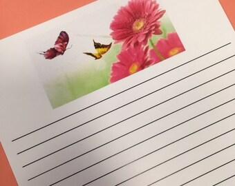 Gerbera Daisy with Butterflies Paper