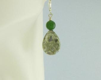 """Green Rhyolite Semi Precious Stone Teardrop w Jade Round Earrings 1 5/8"""" on Sterling Silver Leverback Ear Wires Handcrafted 2631"""