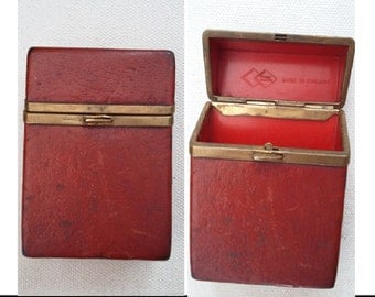Vintage 1970's red leatherette cigarette case made by Double Diamond