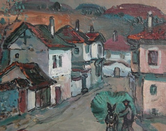 1989 oil painting landscape country houses signed