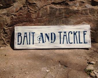 Bait & Tackle Sign, Beach Nautical Sign, Coastal Decor, Reclaimed Wood