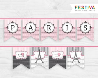 Party Flag / Shower Banner / Paris Party Printable / Flag Banner / French Bridal / Sweet16 / Pink Party / Sign Flag / Paris Birthday Party
