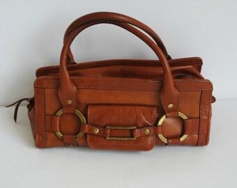 Vintage Brown Leather Handbag, Genuine Leather Purse,  Small Size Bag
