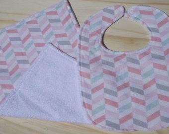 Chevron Bib And Burp Cloth Gift Set/Baby Shower Gift/Baby Girl Gift Set/Pink Chevron