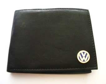 Volkswagen Black Italian Leather Men's Bifold Wallet