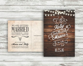 Rustic Wedding Save-The-Date Postcard, Vintage Wedding, Save the Date Postcard, Wedding Save the Date, Twinkle Light Wedding - Printable