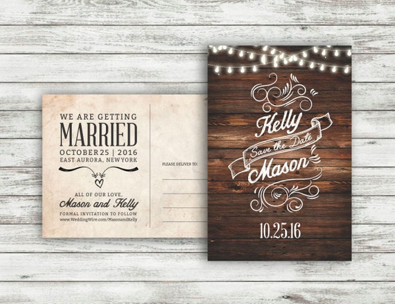 Wedding Save The Date Postcards: Rustic Wedding Save-The-Date Postcard Vintage Wedding Save
